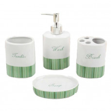 Набор для ванной Bath style 4 пред. (мыльница,дозатор д/мыла, 2стакана)  зеленый