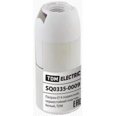 Патрон Е14 подвесной, термостойкий пластик, белый SQ0335-0009