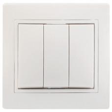 КВАРТА Выключатель трехклавишный скрытный белый в сборе