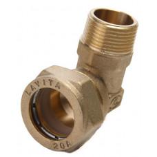Угольник для нержавеющей трубы 20*3/4 нар.резьба Никель Lavita