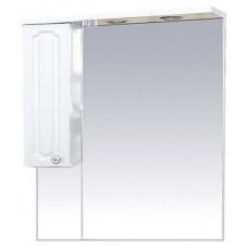 Шкаф-зеркало левый Александра-75 (свет), белый мет.