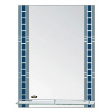 Зеркало POTATO серебро с синим, с полочкой 70см*50 см