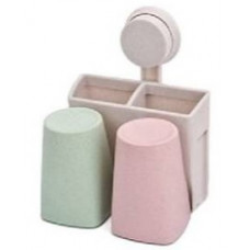 Держатель для зубных щеток и пасты на вакуумных присосках POTATO (2 стакана)